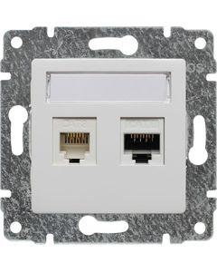 Gniazdo telefoniczno-komputerowe biały KOS Vena