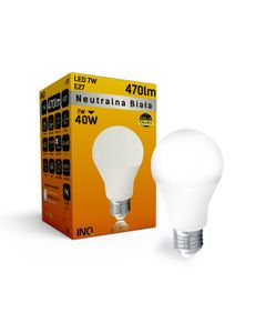 Lampa A60 E27 LED 7 bulb 470lm 4000K INQ LA024NW